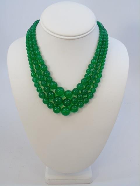 Three Graduated Bead Jade Necklaces & Studs - 3