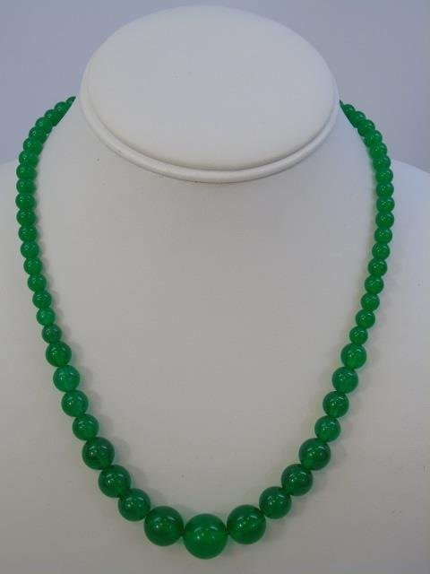 Three Graduated Bead Jade Necklaces & Studs - 4