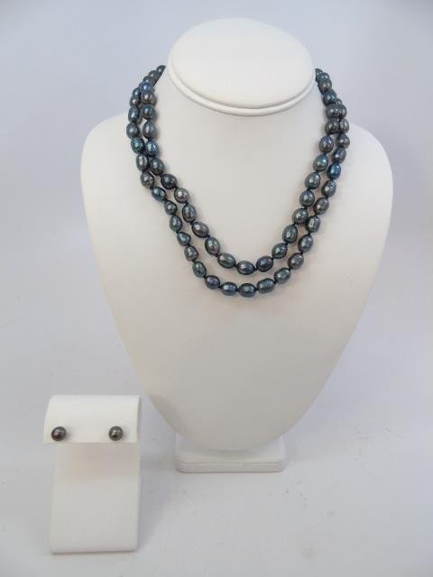 Pair Tahitian Style Black Pearl Necklaces & Studs