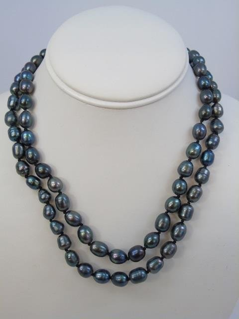 Pair Tahitian Style Black Pearl Necklaces & Studs - 2