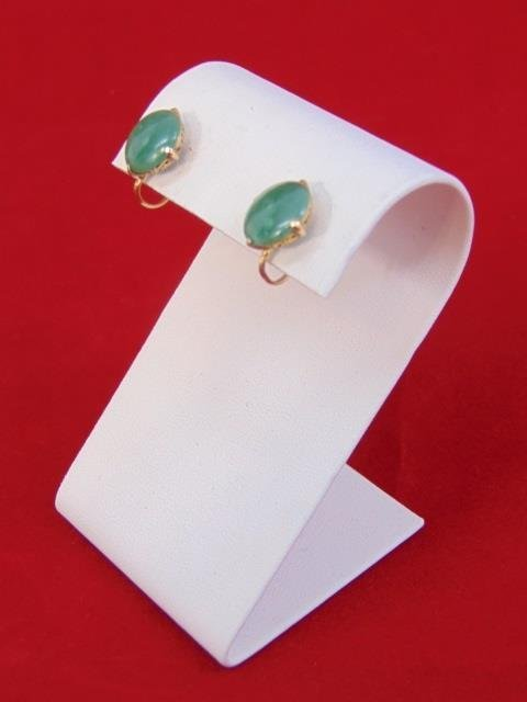 Estate 14kt Yellow Gold Cabochon Jade Earrings - 3