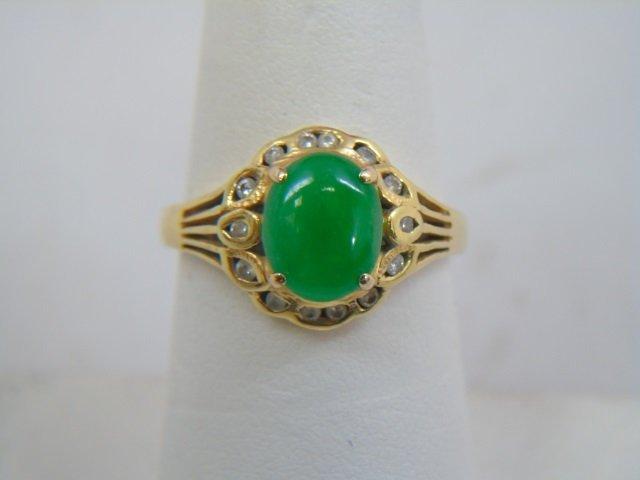 Estate Chinese Cabochon Jade & Diamond 18kt Ring