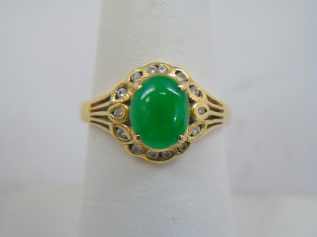 Estate Chinese Cabochon Jade & Diamond 18kt Ring