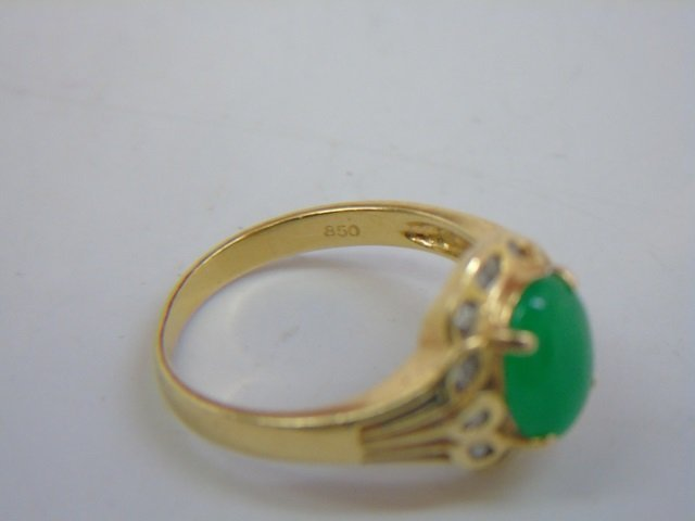 Estate Chinese Cabochon Jade & Diamond 18kt Ring - 2