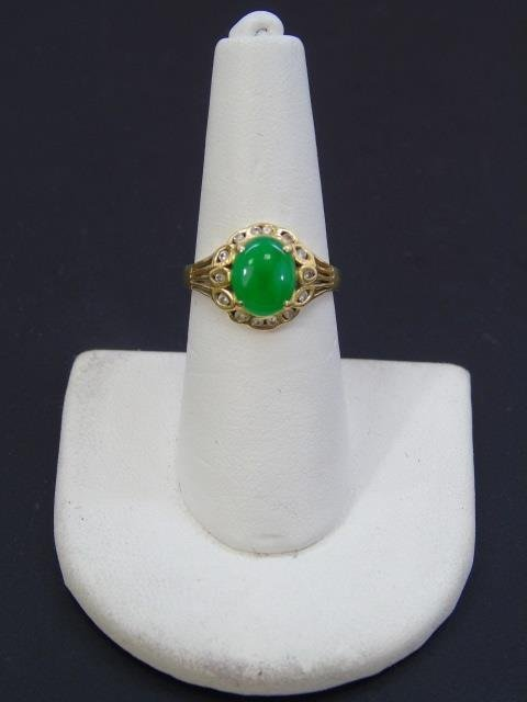 Estate Chinese Cabochon Jade & Diamond 18kt Ring - 3