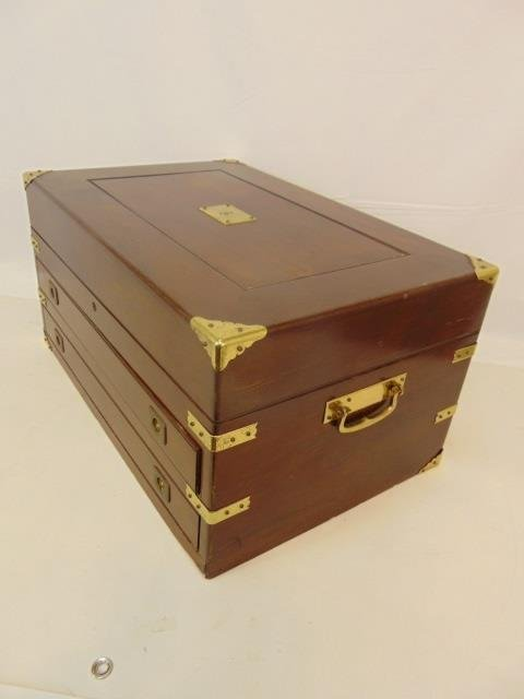 Antique English Campaign Style Sterling Chest - 2