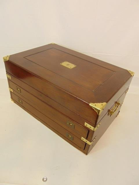Antique English Campaign Style Sterling Chest - 4