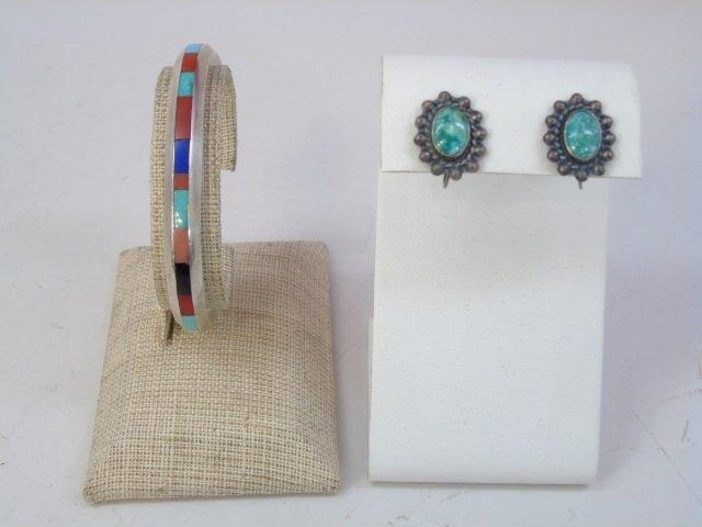 Vintage Native American Silver Earrings & Cuff