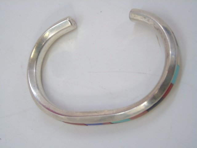 Vintage Native American Silver Earrings & Cuff - 5