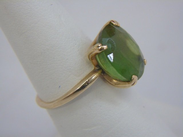 Estate 14kt Yellow Gold & Peridot Cocktail Ring - 4