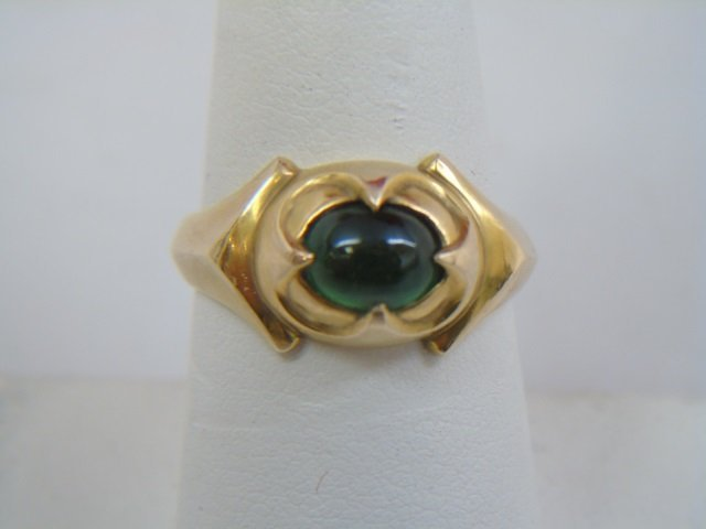 Estate 14kt Yellow Gold & Cabochon Emerald Ring