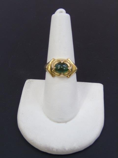 Estate 14kt Yellow Gold & Cabochon Emerald Ring - 3