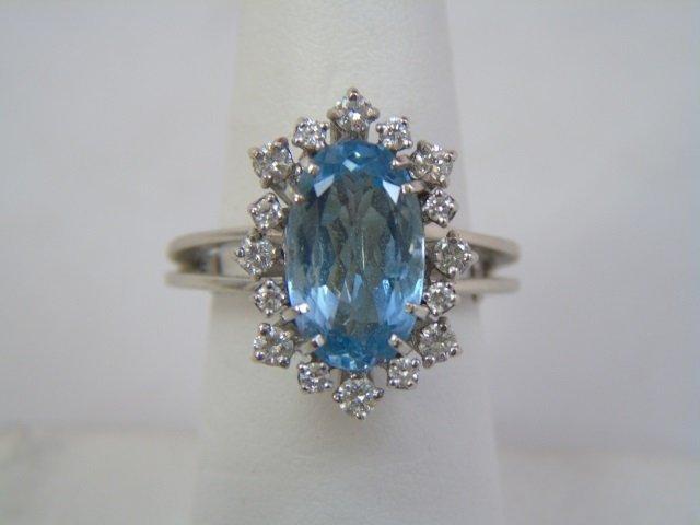 Estate Aquamarine Diamond & White Gold Ring