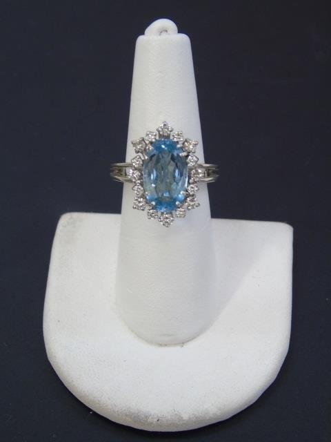 Estate Aquamarine Diamond & White Gold Ring - 2