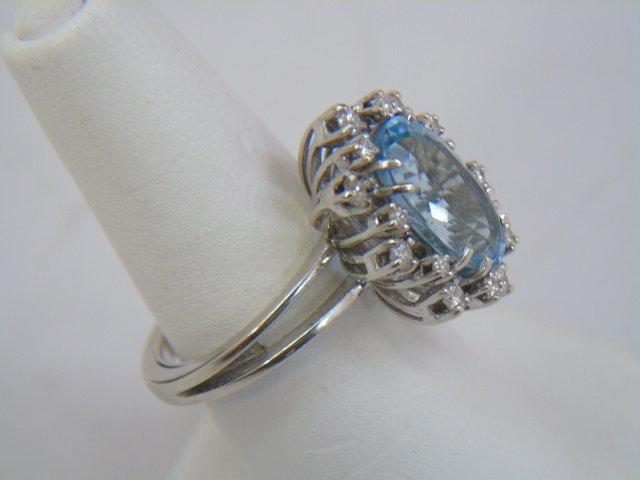 Estate Aquamarine Diamond & White Gold Ring - 3