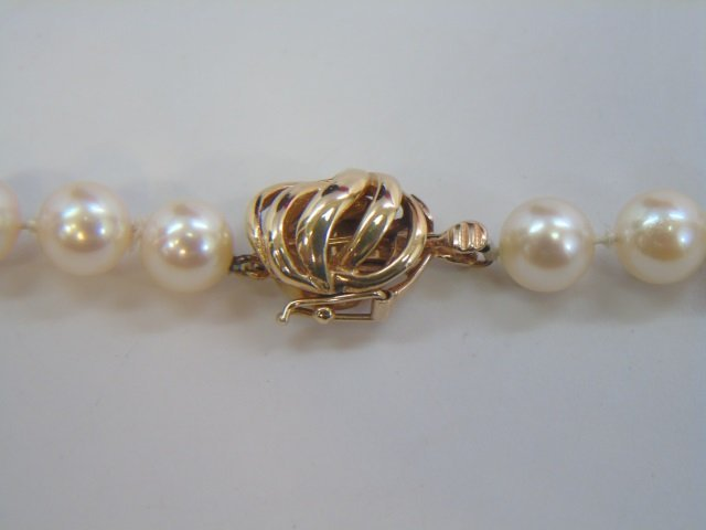 Estate Hand Knotted Pearl Strand w 14k Gold Clasp - 2