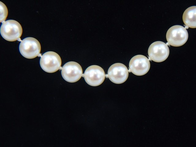 Estate Hand Knotted Pearl Strand w 14k Gold Clasp - 3