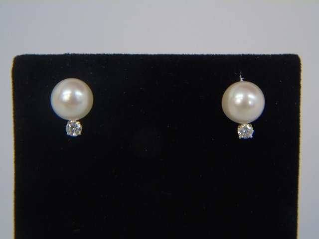 Pair Estate White Pearl & Diamond Earring Studs