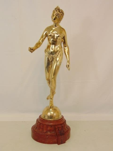 19 C Gilt Bronze Statue Signed L Chalon on Marble