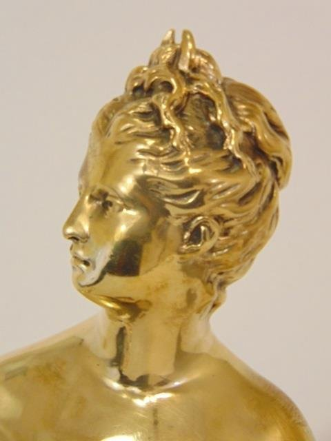19 C Gilt Bronze Statue Signed L Chalon on Marble - 2