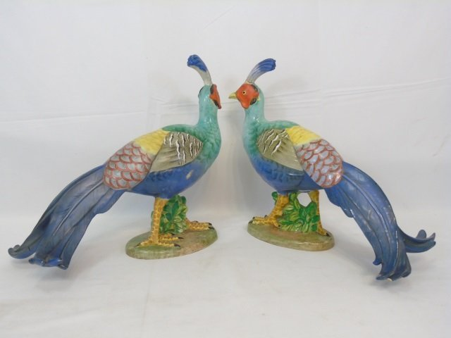 Pair of Large Italian Majolica Porcelain Pheasants