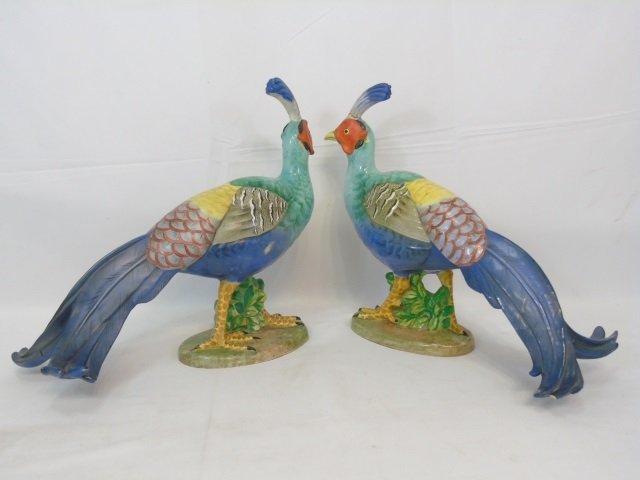 Pair of Large Italian Majolica Porcelain Pheasants