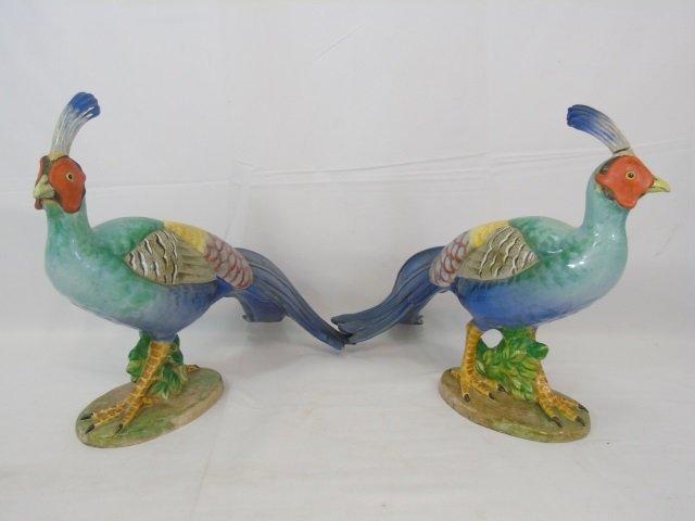 Pair of Large Italian Majolica Porcelain Pheasants - 3