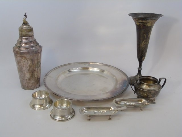 Group of Sterling & Silver Plate Estate Items Vase