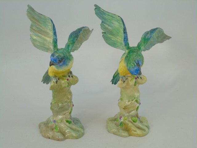 Pair Green Parrot Figurine Staffordshire Porcelain