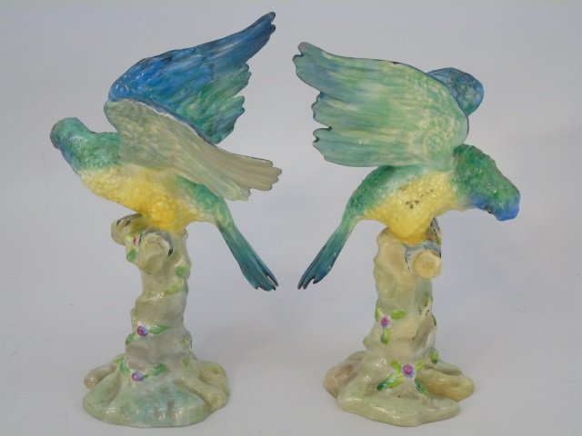 Pair Green Parrot Figurine Staffordshire Porcelain - 2