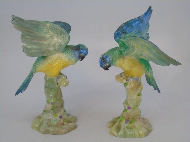 Pair Green Parrot Figurine Staffordshire Porcelain - 4