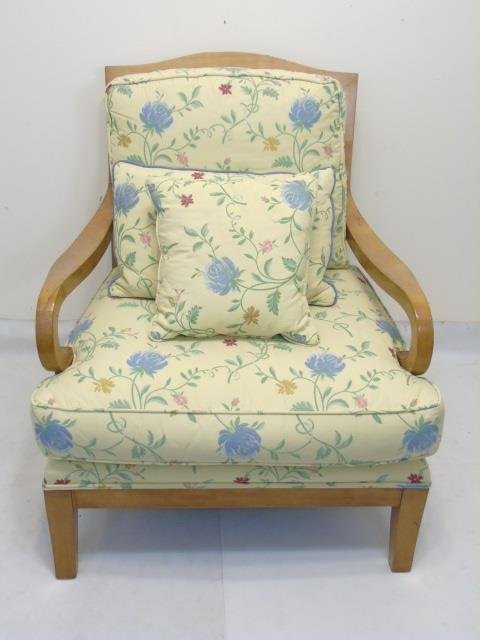 Blond Wood Chair with New Yellow Floral Upholstery