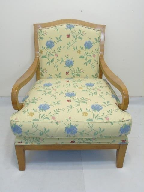 Blond Wood Chair with New Yellow Floral Upholstery - 2