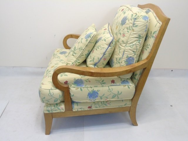 Blond Wood Chair with New Yellow Floral Upholstery - 3