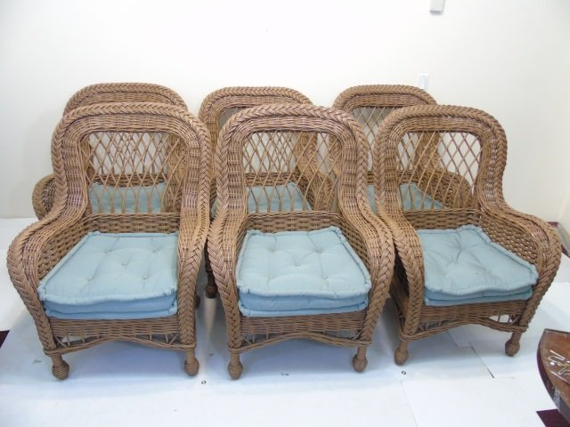Set of 6 Bent Wood / Wicker Armchairs w Cushions