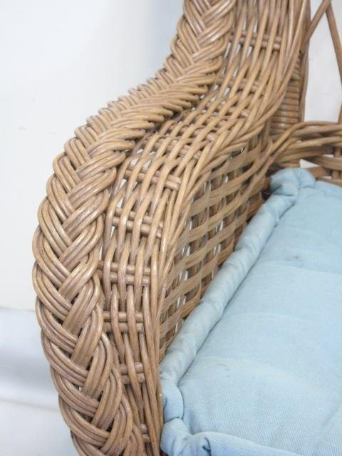 Set of 6 Bent Wood / Wicker Armchairs w Cushions - 2