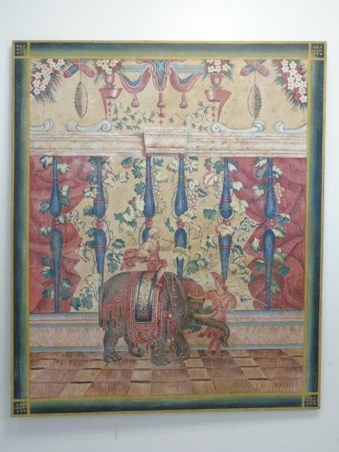 Painted Canvas Decorative Panel w Indian Scene
