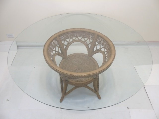 Large Glass Topped Round Table w Bent Wood Base