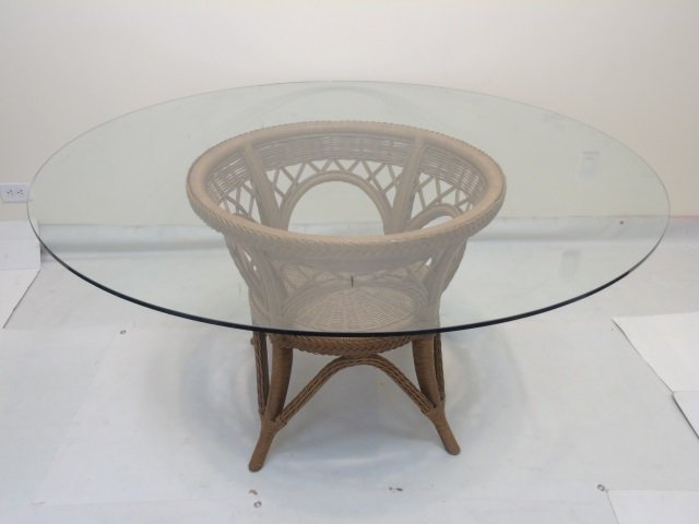 Large Glass Topped Round Table w Bent Wood Base - 2