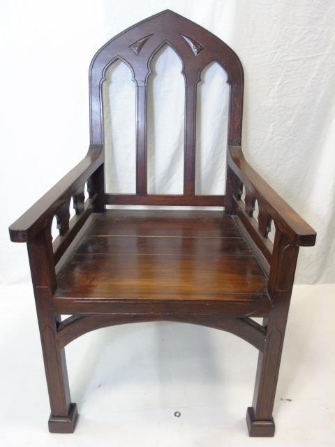 Large Mahogany Ecclesiastical Bishop's Altar Chair