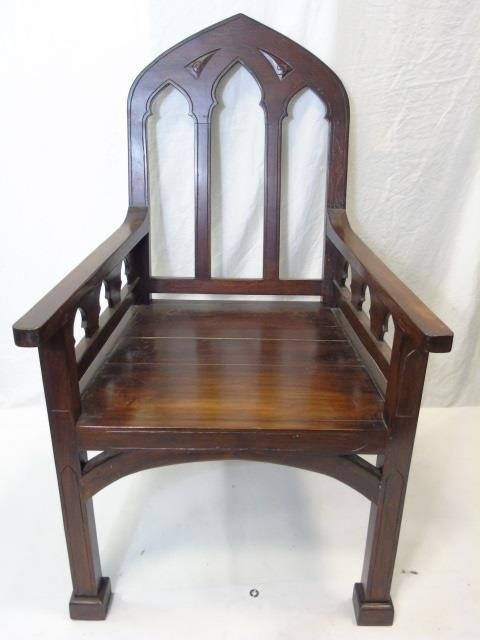 Large Mahogany Ecclesiastical Bishop's Altar Chair