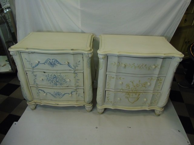 Pair Serpentine Front Painted Bedside Tables
