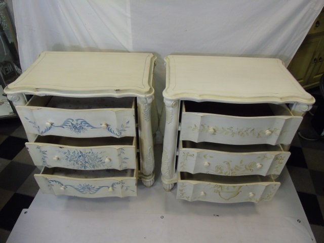Pair Serpentine Front Painted Bedside Tables - 2