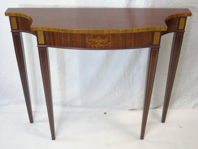 Federal Style Veneered Console Table Cutout Corner