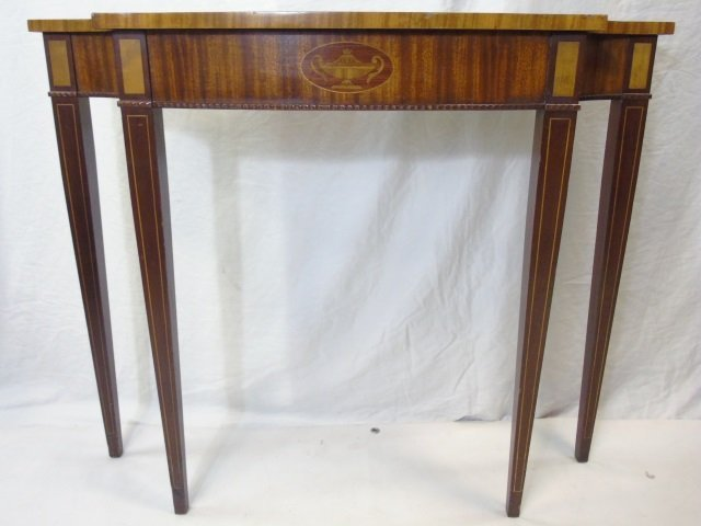 Federal Style Veneered Console Table Cutout Corner - 3
