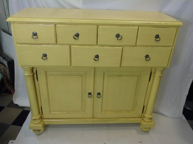 Large Pale Yellow Painted Sideboard w Cabinets