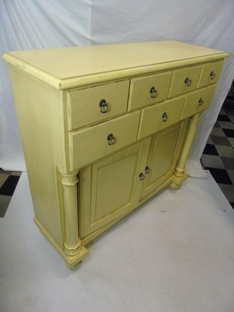 Large Pale Yellow Painted Sideboard w Cabinets - 2