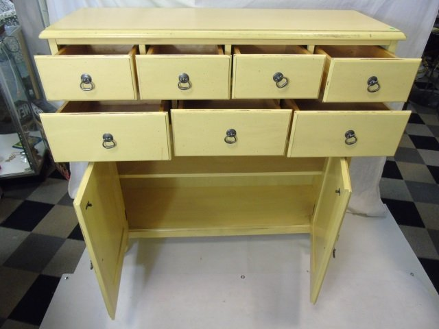 Large Pale Yellow Painted Sideboard w Cabinets - 3