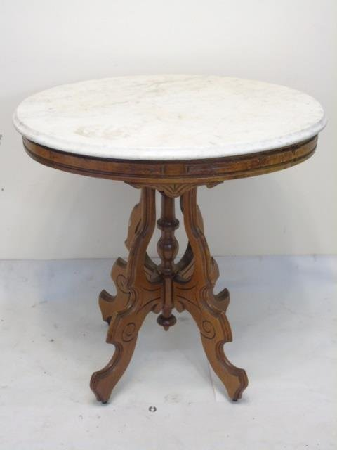 Antique 19th C American Victorian Marble End Table