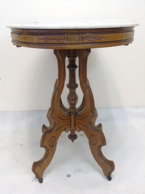 Antique 19th C American Victorian Marble End Table - 2
